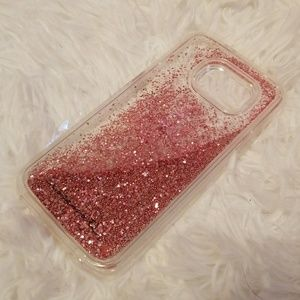 BRAND NEW falling pink glitter phone case